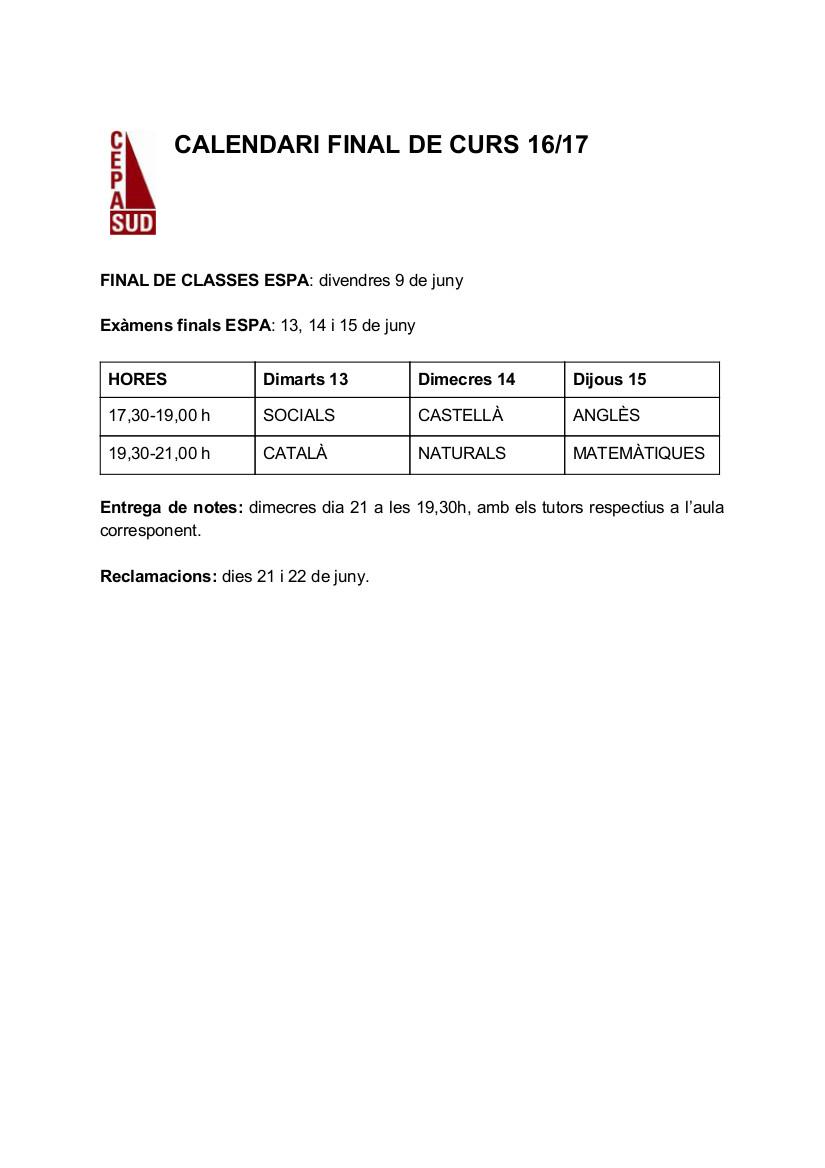 Calendari final 2n Q Versió alumnes