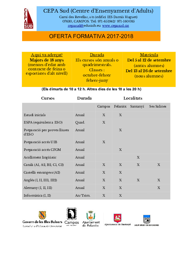Campos.Cartell oferta formativa 17-18
