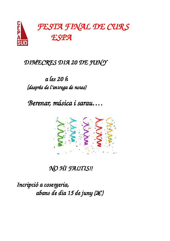 Cartell Festa ESPA 20 juny 18